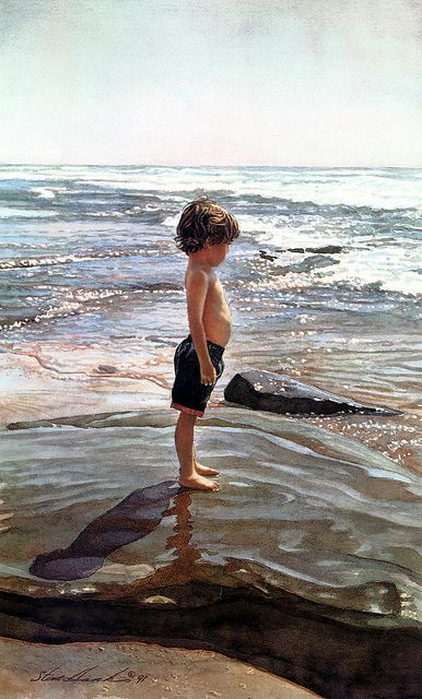 Steve Hanks ~ amazing watercolor artist! ~ little boy in shallow ocean...reminds me of my little Richard