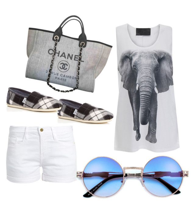 """White Denim #3"" by tripti917 on Polyvore featuring Norma Kamali, Frame, TOMS and Chanel"