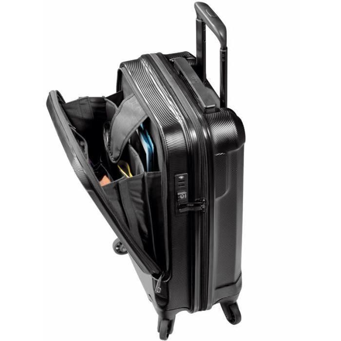 VALISE - BAGAGE JUMP Valise Trolley STRIPE PC 4 Roues 55 cm + Compartiment Business Noir