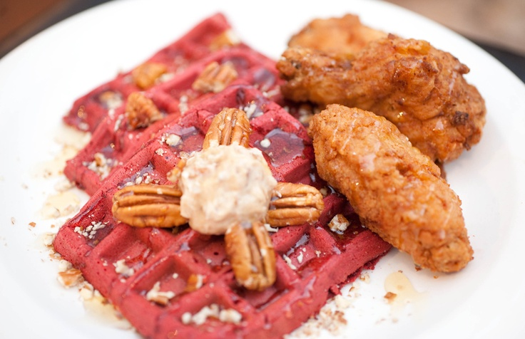 Red velvet waffles and chicken made by www.Apujekalu.com