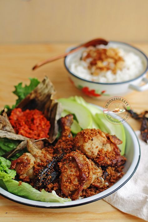 Ayam Goreng Kremes (Indonesian Fried Chicken with Crunchy Flakes). A Javanese Food