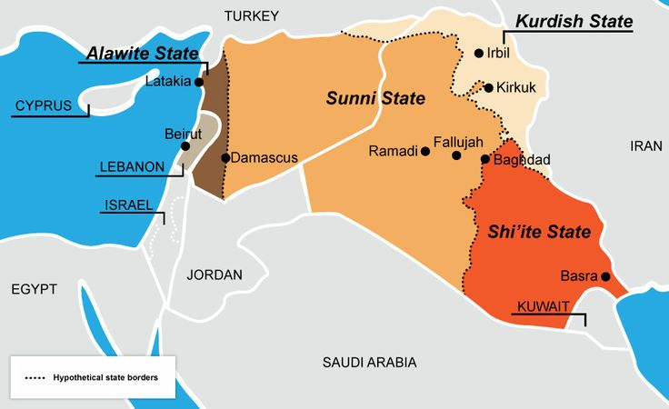 A hypothetical re-drawing of Syria and Iraq. Probably too late for that now what with ISIS in the mix.