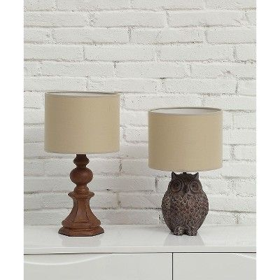 Resin Owl Lamp with Shade, Brown