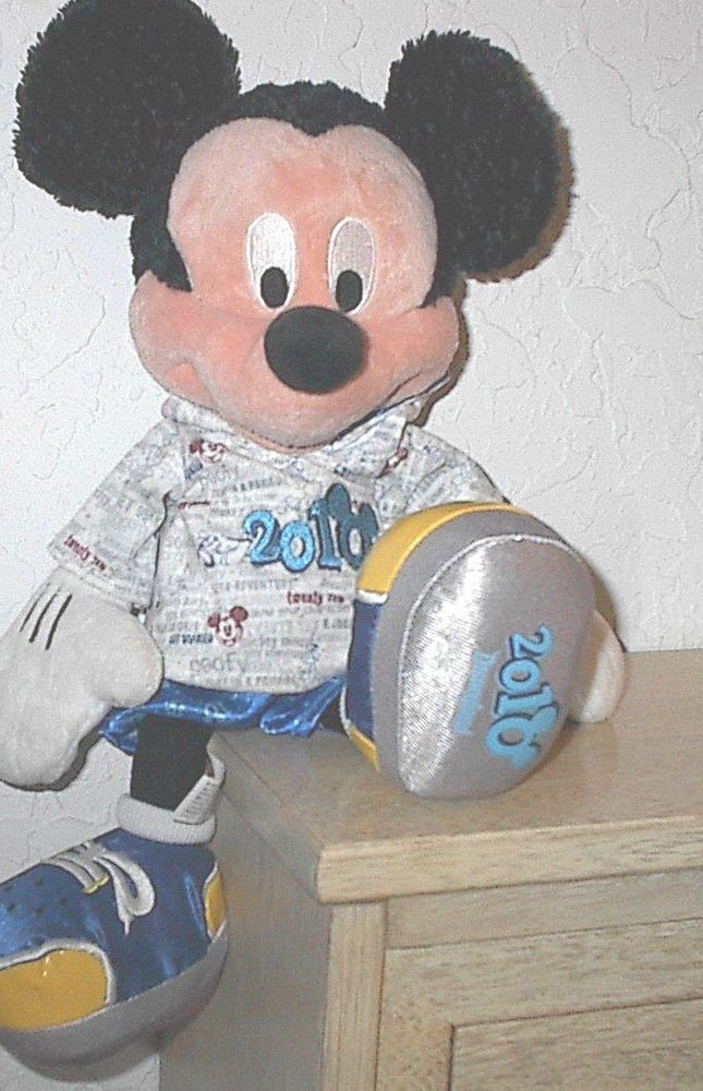 "Mickey Mouse Stuffed Animal 15"" Disney World Walt Disney Rubber 2010 Hoodie"
