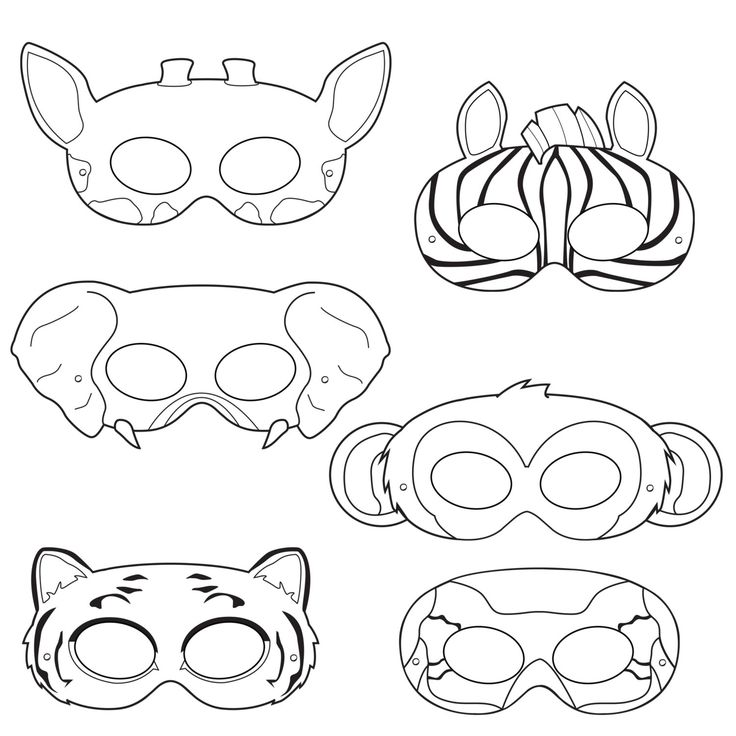 Jungle animaux Coloriage masques masque de par HappilyAfterDesigns