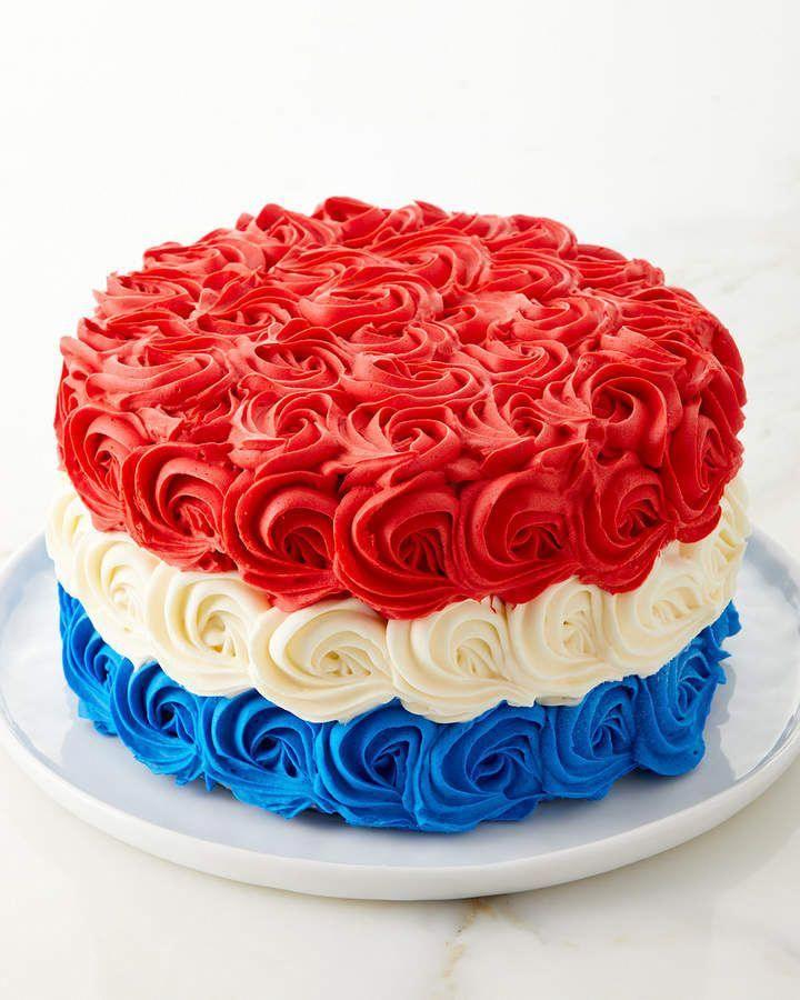 Red White And Blue Rosette Cake 6 Cakedecoratingideas With