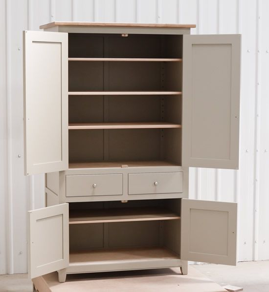 Larder cupboard handpainted in Farrow and Ball Estate Eggshell - Light Gray. Tulip wood carcass construction with birch ply panels and shelv...