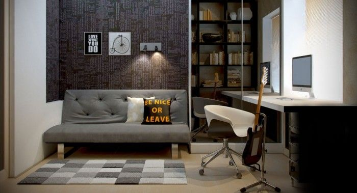 Rustic Home Workspace with Elegance: Mens Home Office Dozen Home Workspaces Grey Sofa ~ jangrue.com Home Office Inspiration - Ry office