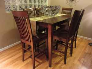 for sale solid wood high top dining room table and chairs set that seats 6