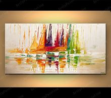 Quadros a óleo pintura a óleo da faca de paleta de pintura a óleo abstrata moderna enorme navio barco à vela(China (Mainland))