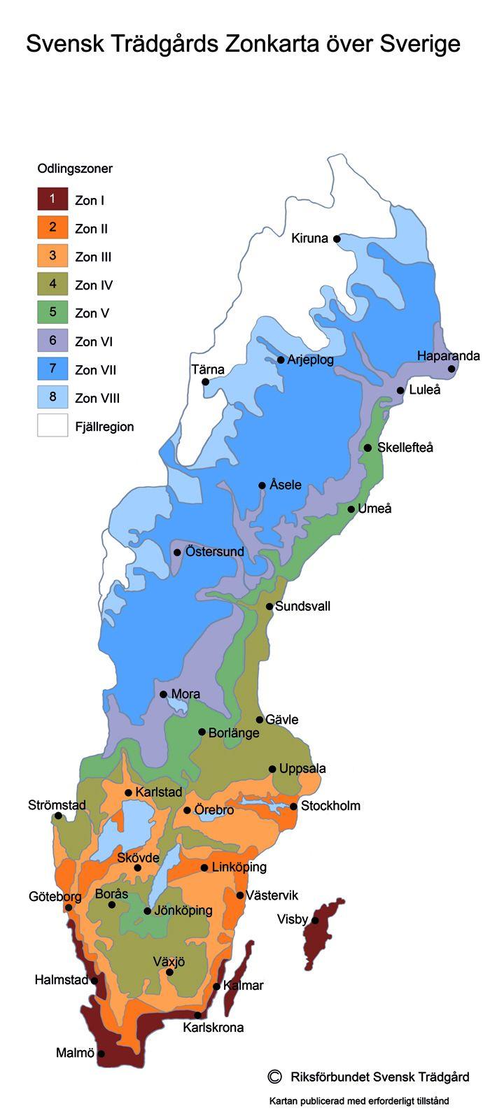 Sweden's gardening zones.