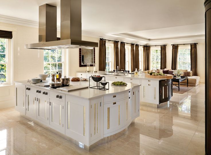 Good Example Of White Kitchen With Tan Marble Floors But