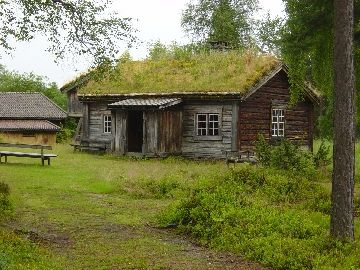 Moss-covered hut in Dalarna province, Sweden