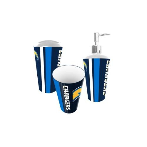 San Diego Chargers NFL Bath Tumbler, Toothbrush Holder & Soap Pump (3pc Set)
