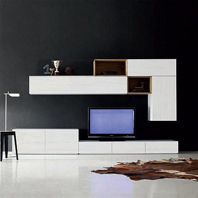 Italian TV media unit White by Santa Lucia, contemporary piece of furniture for modern living room. Available in various colours and finishes, buy living room furniture online