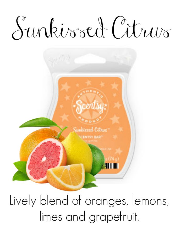 Sunkissed Citrus Contact me for new products, sales, and even FREE samples!  www.Blissfragrance.scentsy.us/