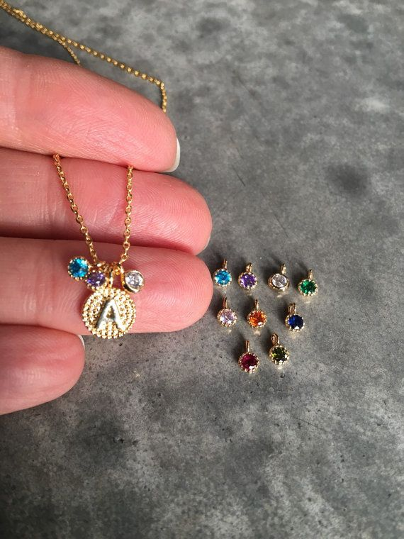 Necklace with birthstone -  BijouLimon op Etsy