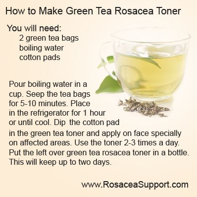 Try this homemade green tea toner to reduce rosacea redness.