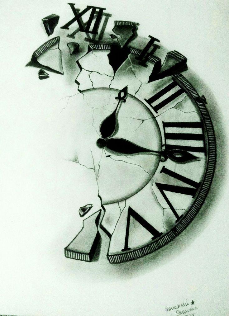 Broken clock pencil drawing   Anime   Clock tattoo design ...