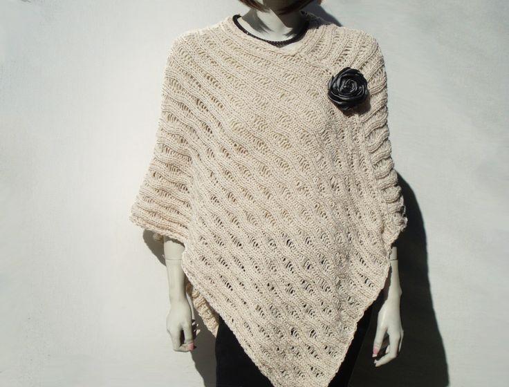 Poncho Loose Knit Woman Poncho Ecru Women's by GreenCatStudio