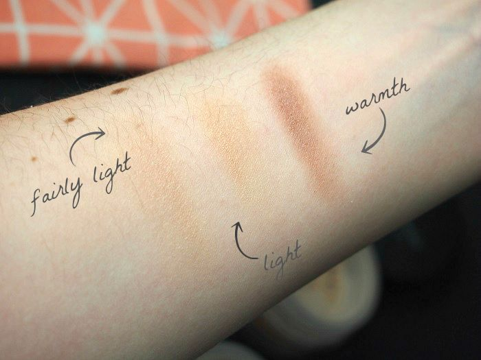bare Minerals starker kit light swatches