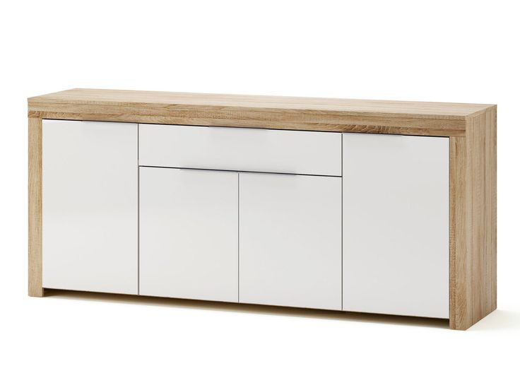 Buffet bas 4 portes 1 tiroir blanc et bois L177.2 cm NAXIS