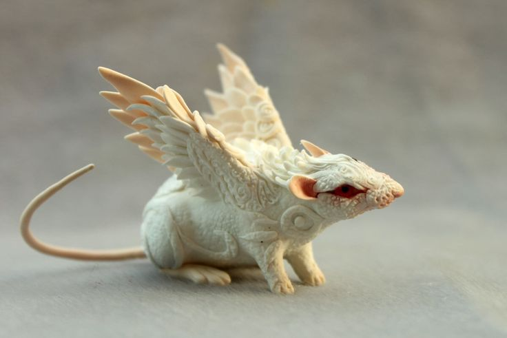 White Rat Mouse Winged figurine art sculpture pet, Rat angel, rat totem, amulet, fairy, fantasy by DemiurgusDreams on Etsy https://www.etsy.com/listing/187574796/white-rat-mouse-winged-figurine-art