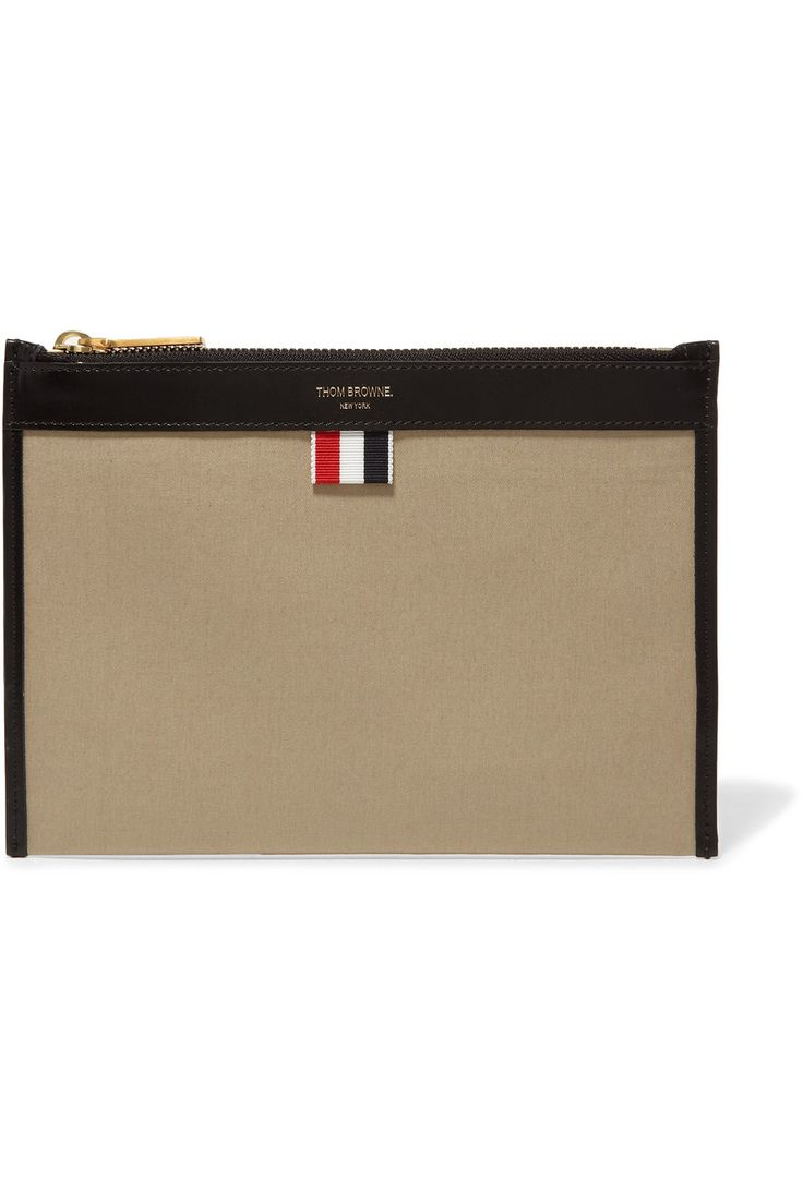 THOM BROWNE Leather-trimmed canvas wallet. #thombrowne #