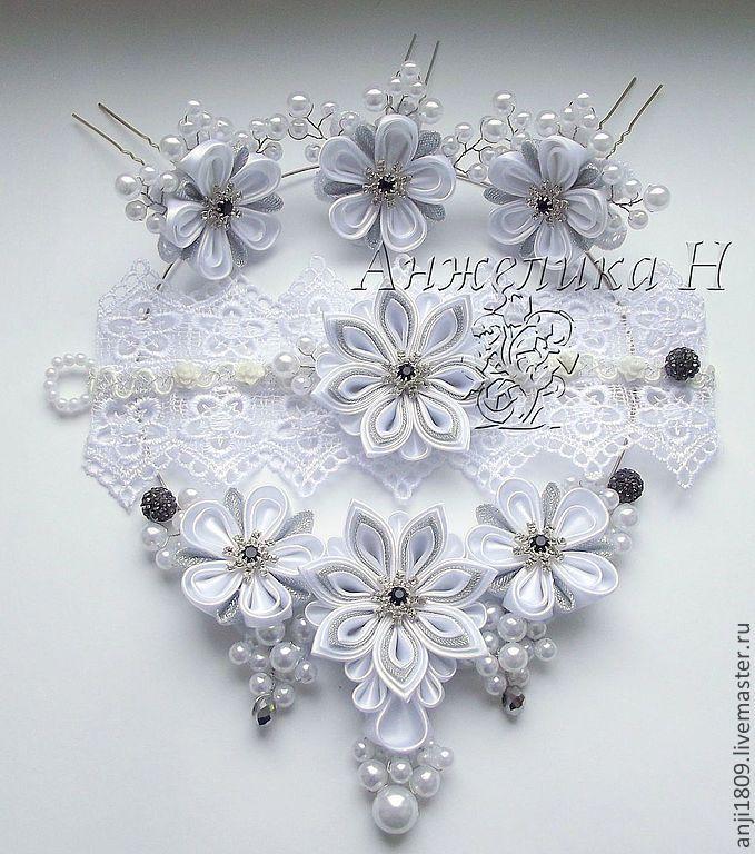 Свадебное украшение с цветами канзаши в интернет-магазине на Ярмарке Мастеров.