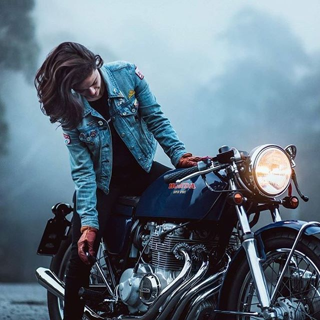 "dropmoto: ""The ideal alone time. Dim morning light and a motorcycle. @katieabdilla through the lens of @jasonlphotos . #dropmoto #honda #hondacb #caferacer #caferacers #vintagemotorcycle """