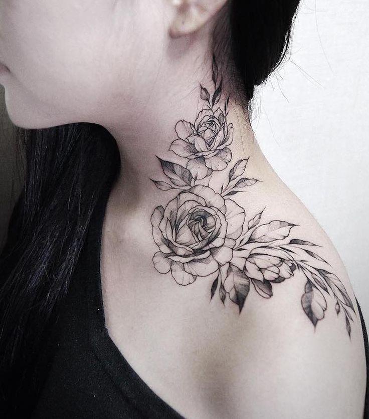 Les 25 meilleures id es de la cat gorie tatouage rose cou sur pinterest dessins de rose - Tatouage femme rose ...
