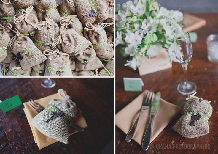 Burlap Wedding Ideas | diy wedding decorations coffee in burlap bag at Stone Brewery wedding ...