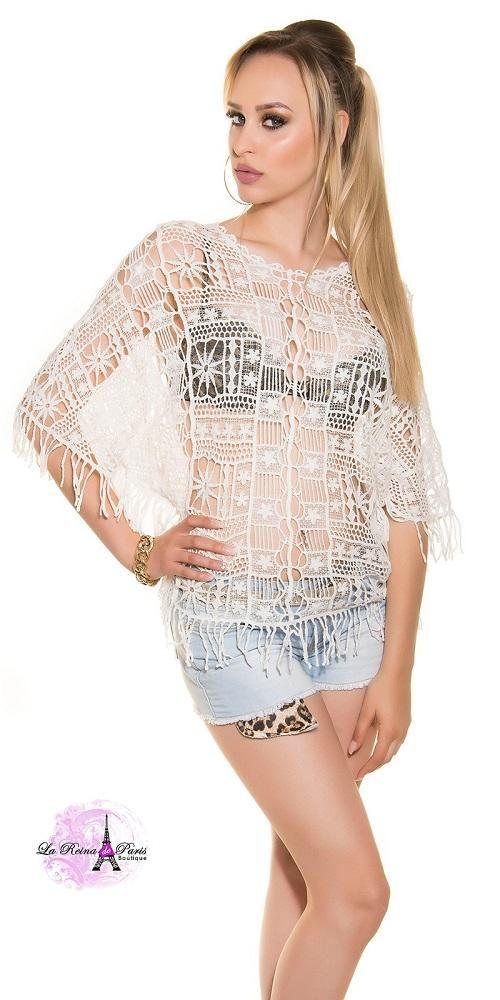 Blusa blanca transparente crochet