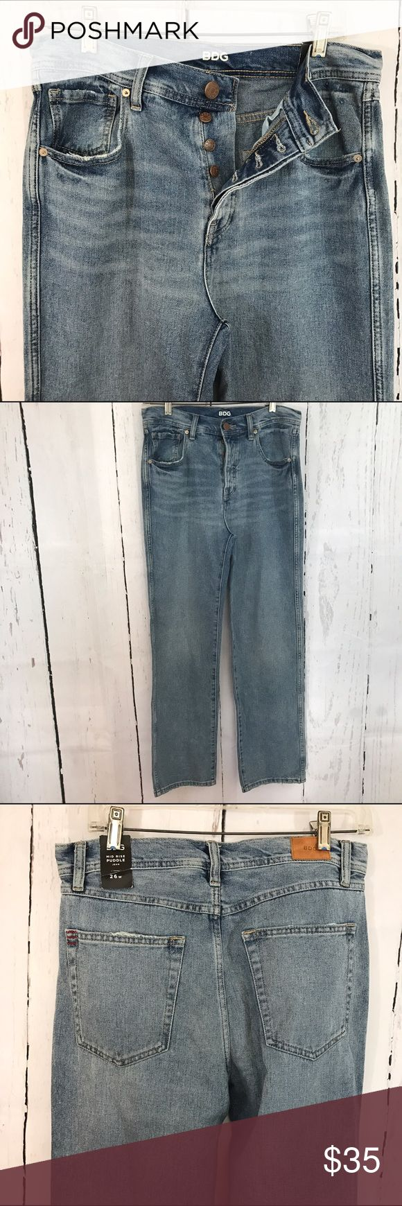 """💜💜 NWT MID RISE PUDDLE JEANS B24 Condition: New! Approximate measurements (laying flat): 15.75"""" waist 41"""" length 29.5"""" inseam  Material: 100% Cotton  Item location: bin 24   **bundles save 10%** no trades/no modeling/no asking for lowest Urban Outfitters Jeans Straight Leg"""