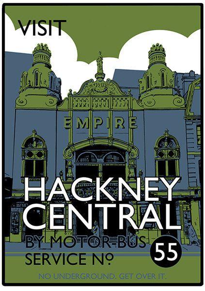 Visit Hackney Central - screenprint poster vintage style