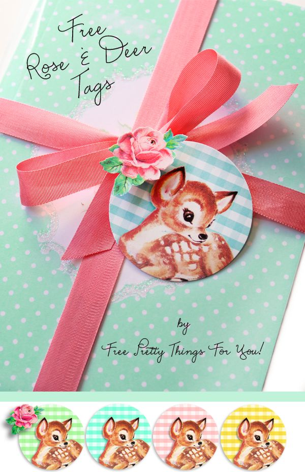 Gorgeous Rose and Deer Tags over @Free Pretty Things For You