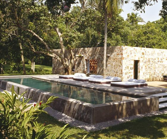 The quiet lap pool amidst trees, peaceful and simple.