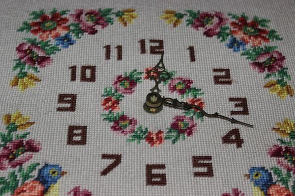 Vintage Needlepoint Floral Clock with Oak Frame