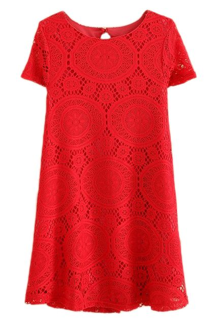 Lace Short Sleeve Red Dress
