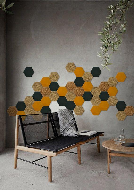 Décoration murale hexagonale - nuance 4 (Fraké - Bleu pétrole - Jaune moutarde) - Kit de 50 pièces