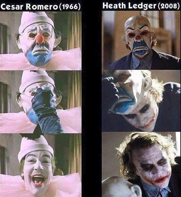 """Heath Ledger's Joker from """"The Dark Knight"""" wears a mask similar to the one worn by Cesar Romero's Joker in his introductory appearance in the 1960's TV Show """"Batman""""."""