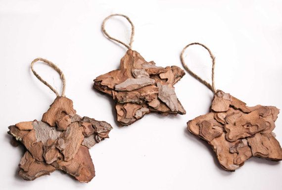 Rustic star  ornaments Holiday ornaments  fir bark by florasense, $12.00