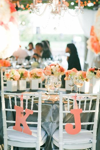 personalizedDecor, Colors Pop, Coral, Pink Colors, Chairs, Wedding Photos, Receptions Ideas, Peaches, Silver Tables