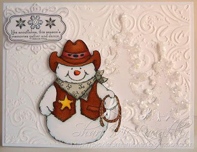 ONECRAZYSTAMPER.COM: Cowboy Snowman by Shari using High Hopes Stamps Cowboy Snowman (S080)