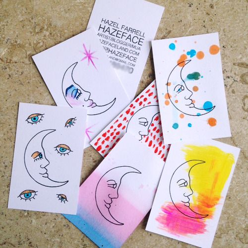 Hazeface business cards - Individually designed business cards #businesscards #businesscarddesigns #businesscardideas #design #handmadebusinesscards #diybusinesscards #artist #art #businesscardtrends #businesscards2015 #artistcards #customized #customizedbusinesscards #diy #handmade #adobeindesign #vistaprint #vistaprintbusinesscards #printing #handpainted #dipdyed #dyed #dylon #dylondyes #fineliner #moon #mooncards #moon #businesscards #hazeface #neon