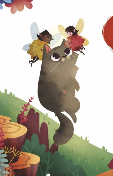 A fat cat being carried by fairies. Love this illustration from Storytime 26, by Benedetta Capriotti! ~ STORYTIMEMAGAZINE.COM