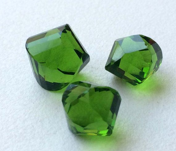 Green Crystal Quartz 3 Pc Faceted Fancy Shape by gemsforjewels
