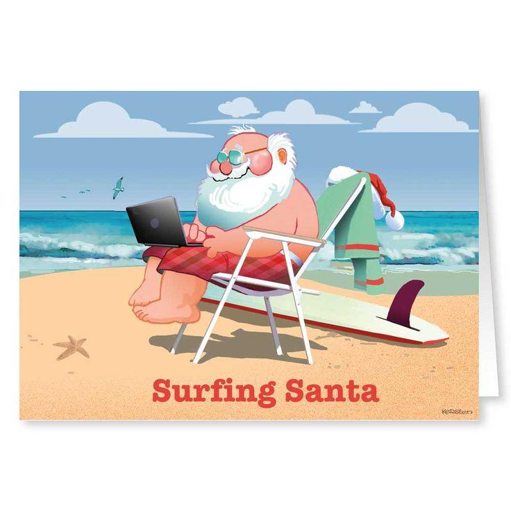 surfing santa beach theme christmas card - Beach Themed Christmas Cards