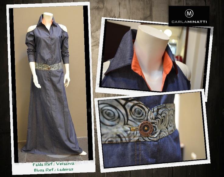 La combinación de sesgos en diferentes materiales y colores, le dan vida a nuestras prendas en indigo.