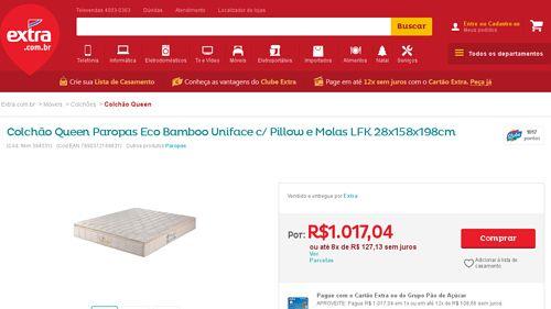 [Extra.com.br] Colchão Queen Paropas Eco Bamboo Uniface c / Pillow e Molas LFK 28x158x198cm 394531 - de R$ 1.263,44 por R$ 1.017,04 (19% de…
